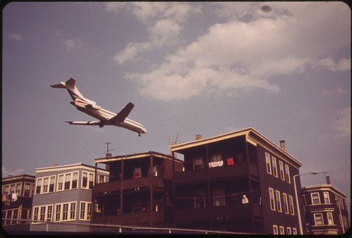 Near Logan Airport - Airplane Coming in for Landing Over Frankfort Street at Lovell Street Intersection | by The U.S. National Archives