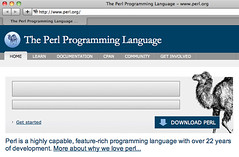 New perl.org homepage, with Flash banner blocked by ClickToFlash | by Chris Devers