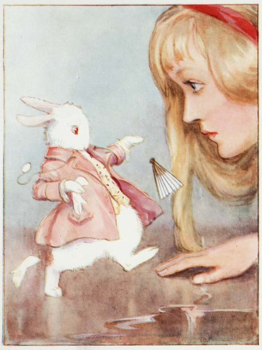 Alice in Wonderland (Illustrator: Tarrant, 1916) Alice meets the White Rabbit | by Toronto Public Library Special Collections