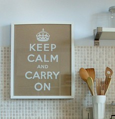 """Keep calm and carry on""...in the kitchen of Apartment 44. 
