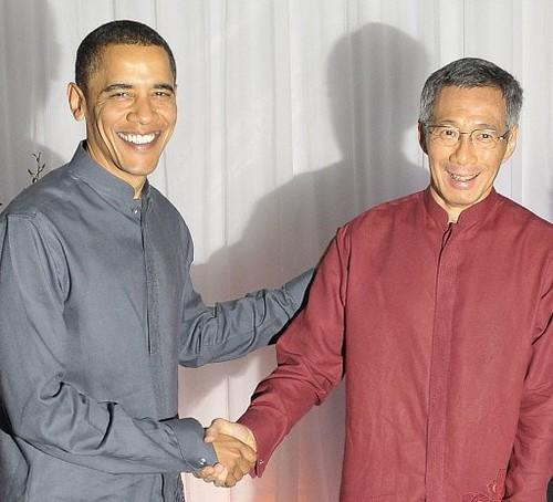 Primeiro-ministro de Cingapura, Lee Hsien Loong e Presidente Barack Obama
