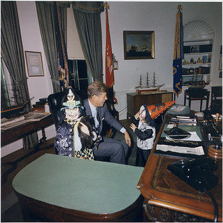 Halloween Visitors to the Oval Office. Caroline Kennedy, President Kennedy, John F. Kennedy, Jr. White House, Oval Office, 10/31/1963 | by The U.S. National Archives