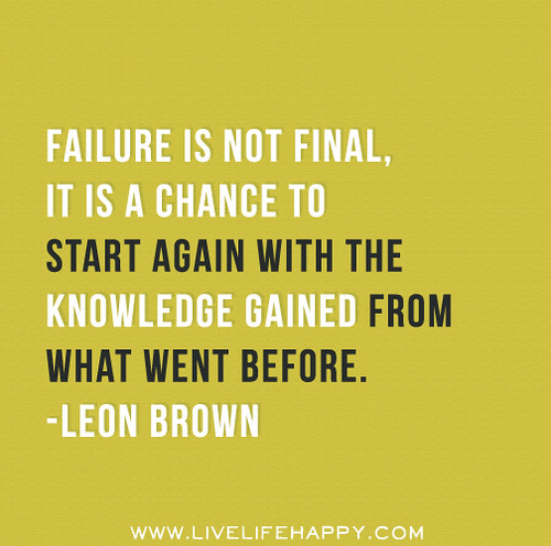 Inspirational Quotes About Failure: Failure Is Not Final, It Is A Chance To Start Again With T