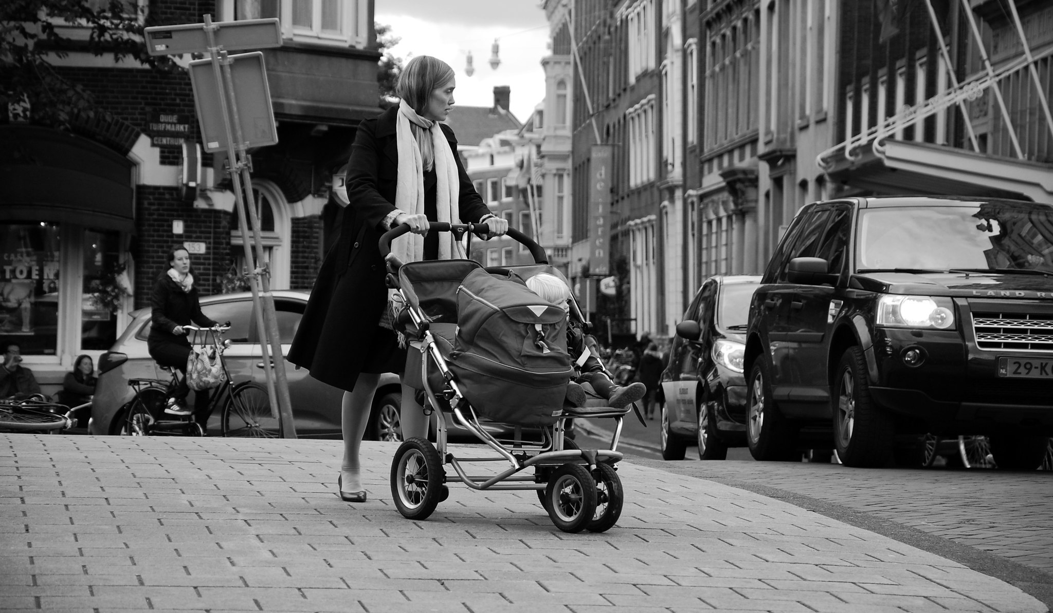 stroller black and white pic