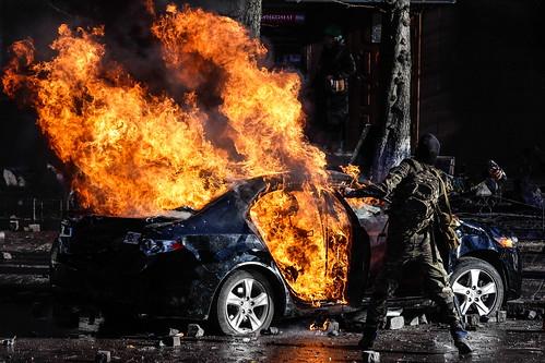 В центре Москвы сгорел автомобиль.