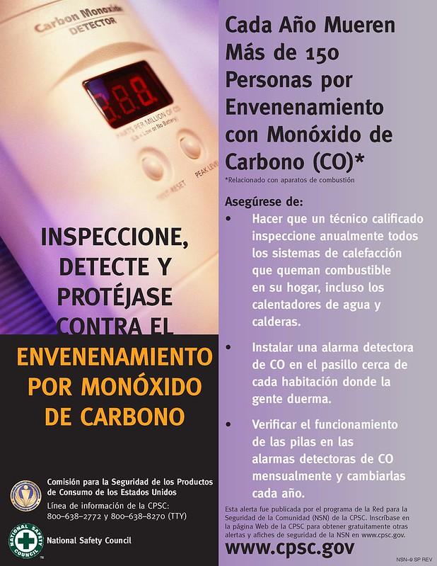 Inspeccione, detecte y protéjase contra el envenenamiento por monóxido