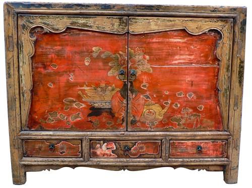 Meubles exotiques cabinet ancien de mongolie asiatica for Meubles exotiques