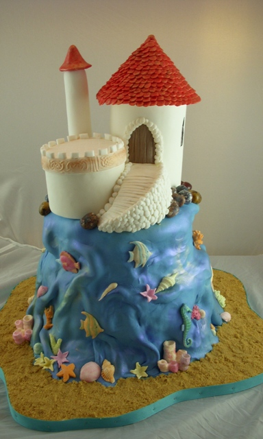 little mermaid and prince eric wedding cake topper castle cake modelled after prince eric s castle in the 16909