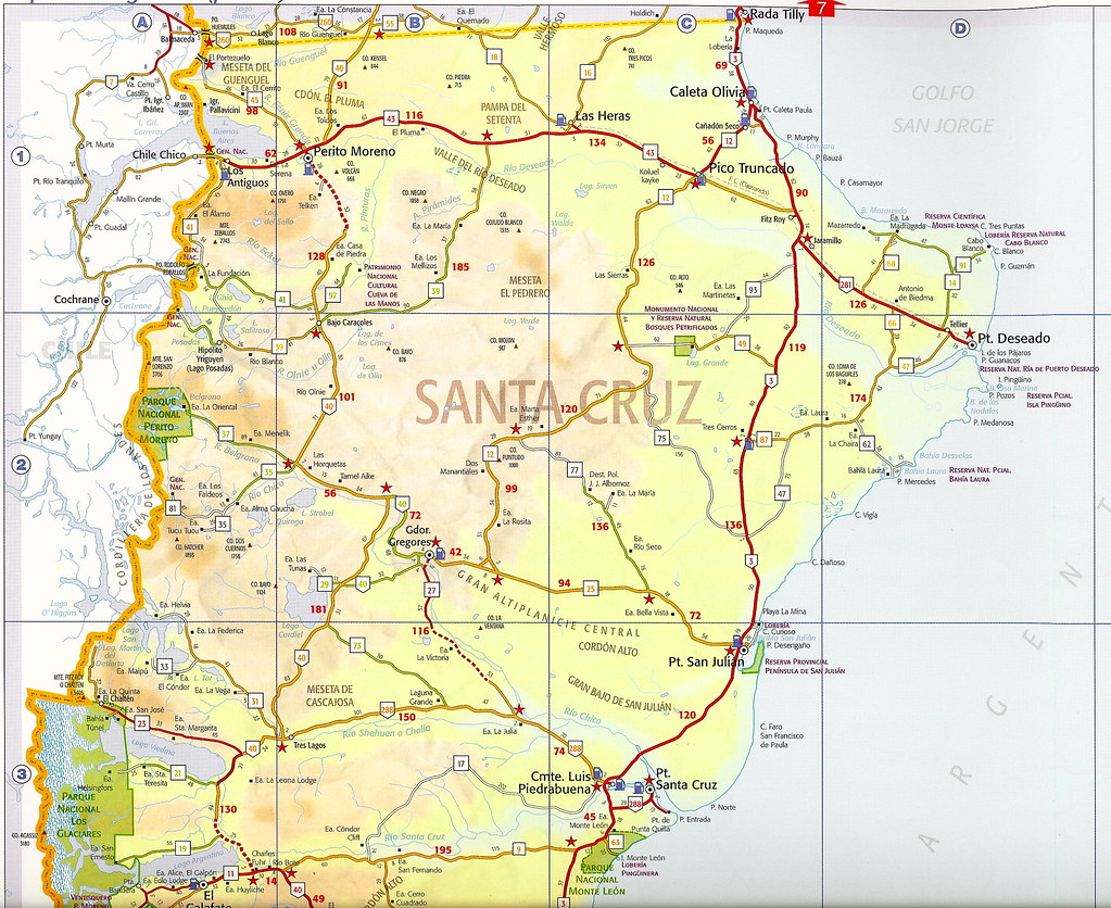 map of southern argentina in south america