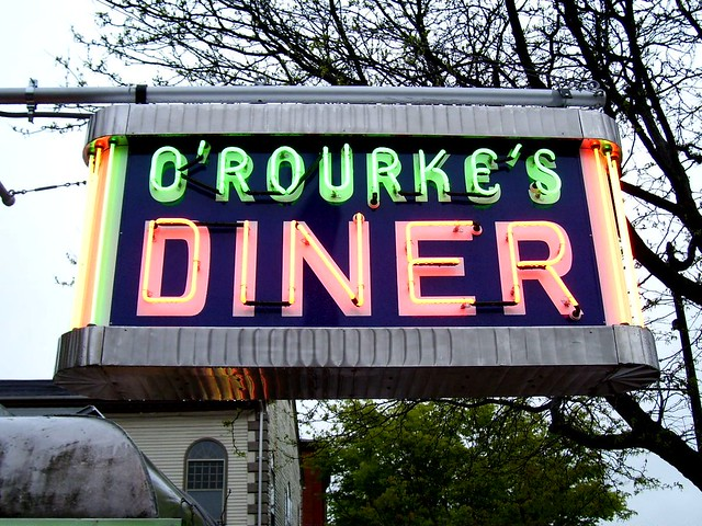 O'rourke's Diner Neon Sign After Restoration  As Part Of. Encouraging Word Stickers. San Diego Downtown Murals. Traffic Va Signs. Animal Stickers. Pro Wrestling Logo. St John's Logo. Ticket Signs. Color Logo