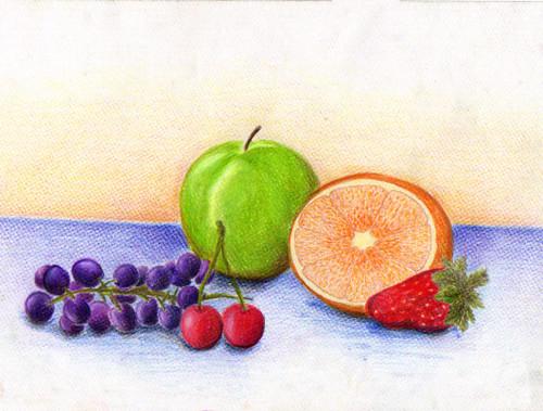 Dibujo a mano alzada: Composición con frutas | laurita_mza