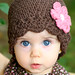 Daisy Flapper Beanie - chocolate, pastel pink, rose pink