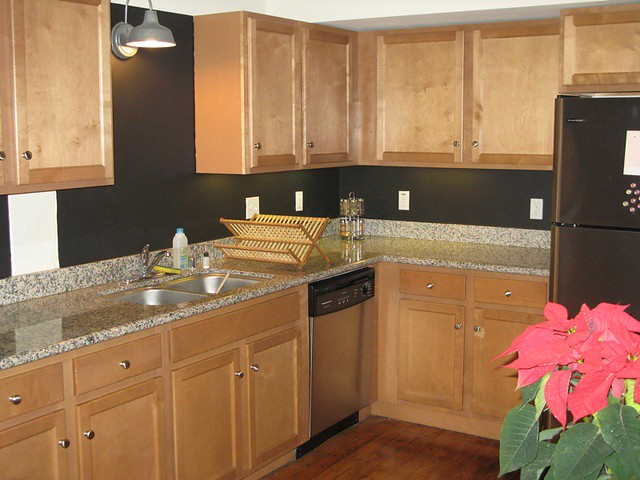 My Kitchen With Black Chalkboard Paint On The Backsplash