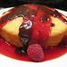 pound cake with chocolate & raspberry sauces