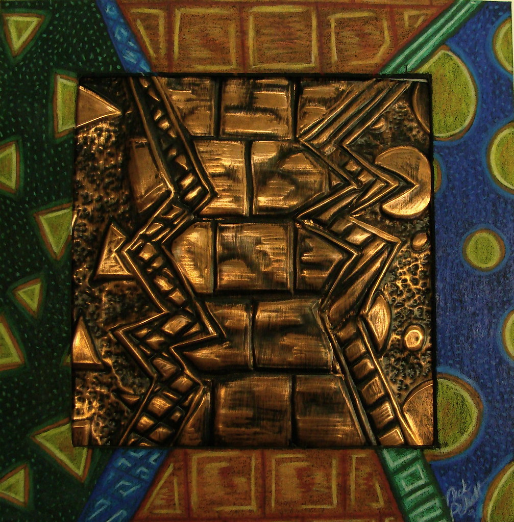 Copper relief with shaded mat student work jodie hurt