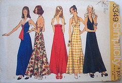 Simplicity 5349 Vintage 70s Sewing Pattern Halter Maxi Dress Prom Formal UNCUT | by Sassy By Design