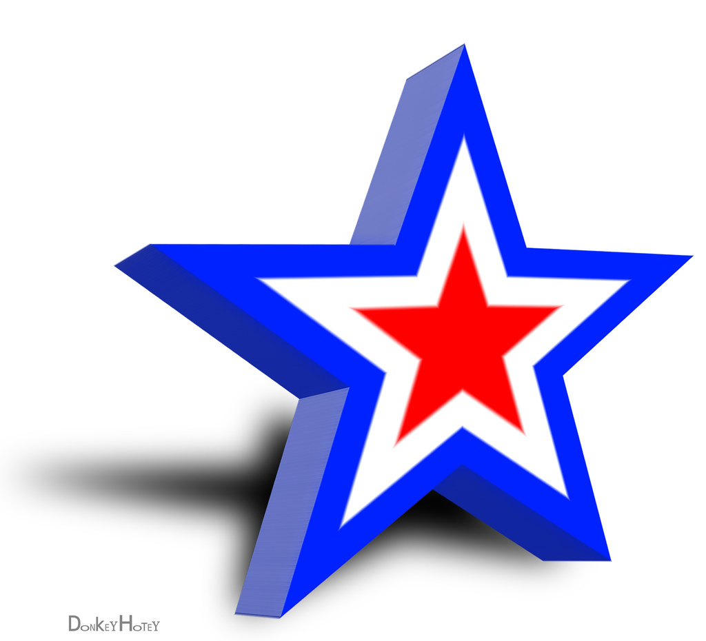 Flag Star - Illustration | Red, White and Blue, Star in 3d ... - photo#22