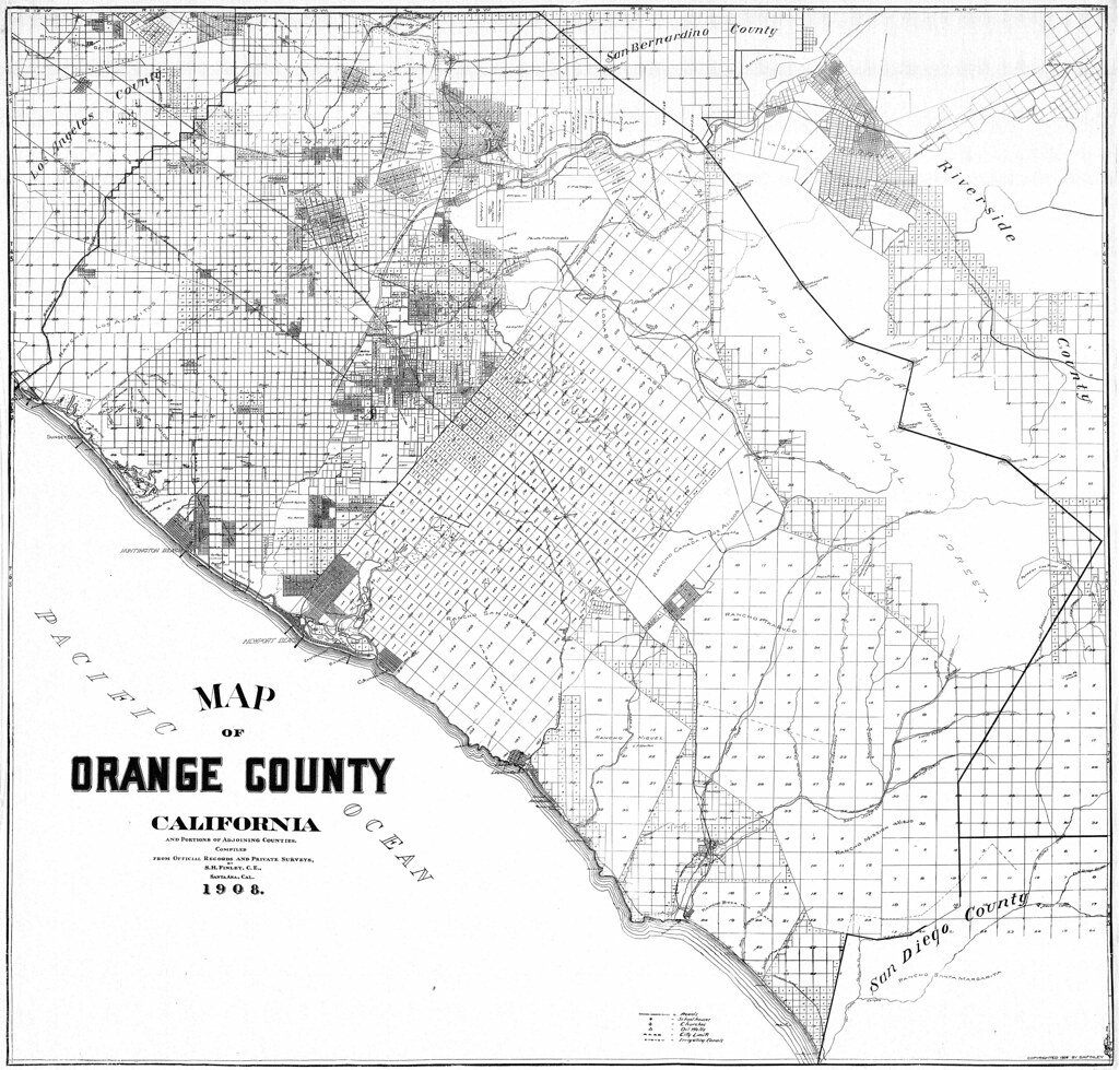 Orange county map 1908 an official county map by s h - Maison d architecte orange county californie ...