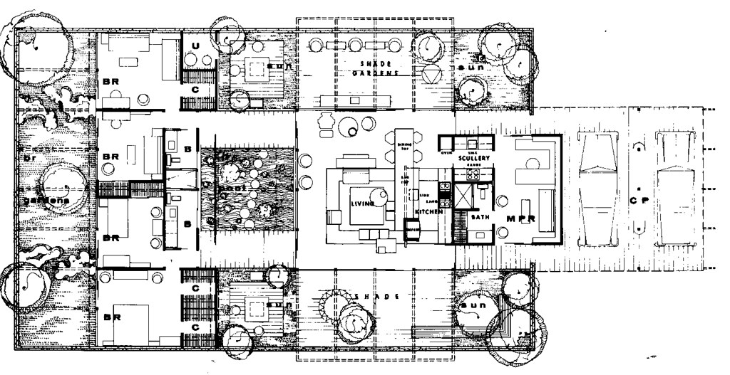 Case study house 24 plan from esther mc coy 39 s case for Case study houses floor plans
