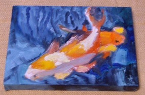 Orange and white koi fish 5x7 available for sale for White koi fish for sale