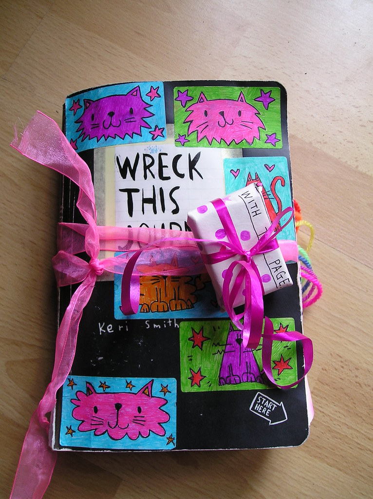 Wreck this journal day 46 now with parcel decoration for Journal art et decoration