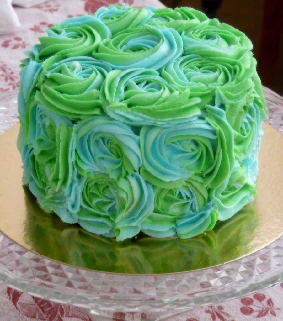 Ombre Rose Cake Blue
