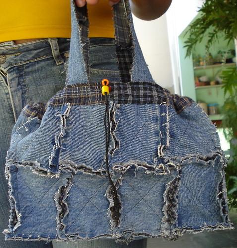 Bolsa De Tecido E Jeans : Bolsa em rag quilt jeans reciclado recycle