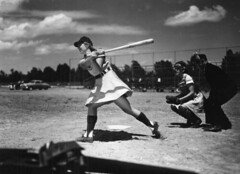 View of All American Girls Professional Baseball League member Dottie Schroeder getting a hit: Opa-locka, Florida | by State Library and Archives of Florida