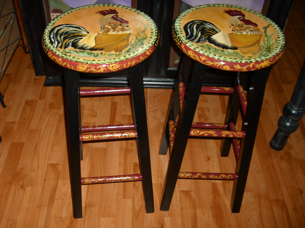 French Country Tuscan Rooster Stools Hand Painted Bar