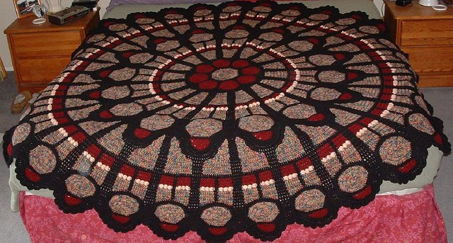 Cathedral Rose Window Afghan Round Pattern Originally