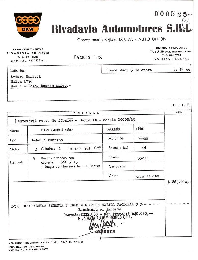 FACTURA DE COMPRA OKM 1966 ORIGINAL | Cuando pude hacer la
