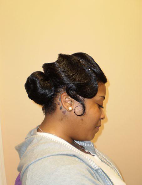 black hair style up do bun and fingerwaves - Copy - Copy