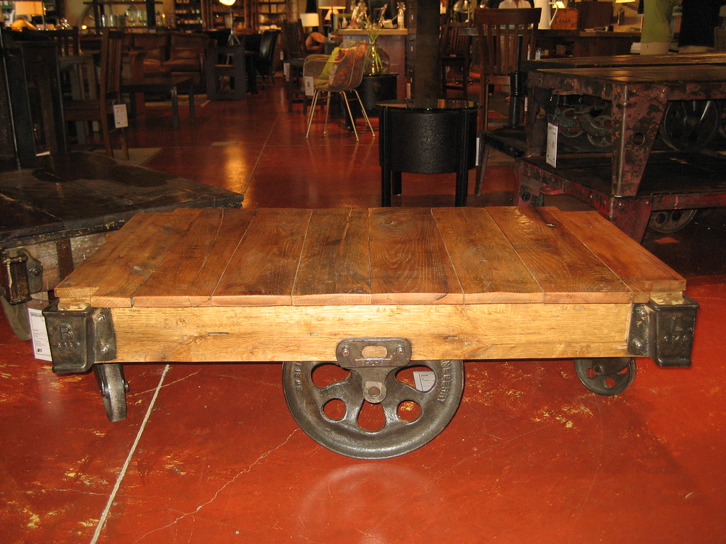 Industrial cart coffee table American Furnishings