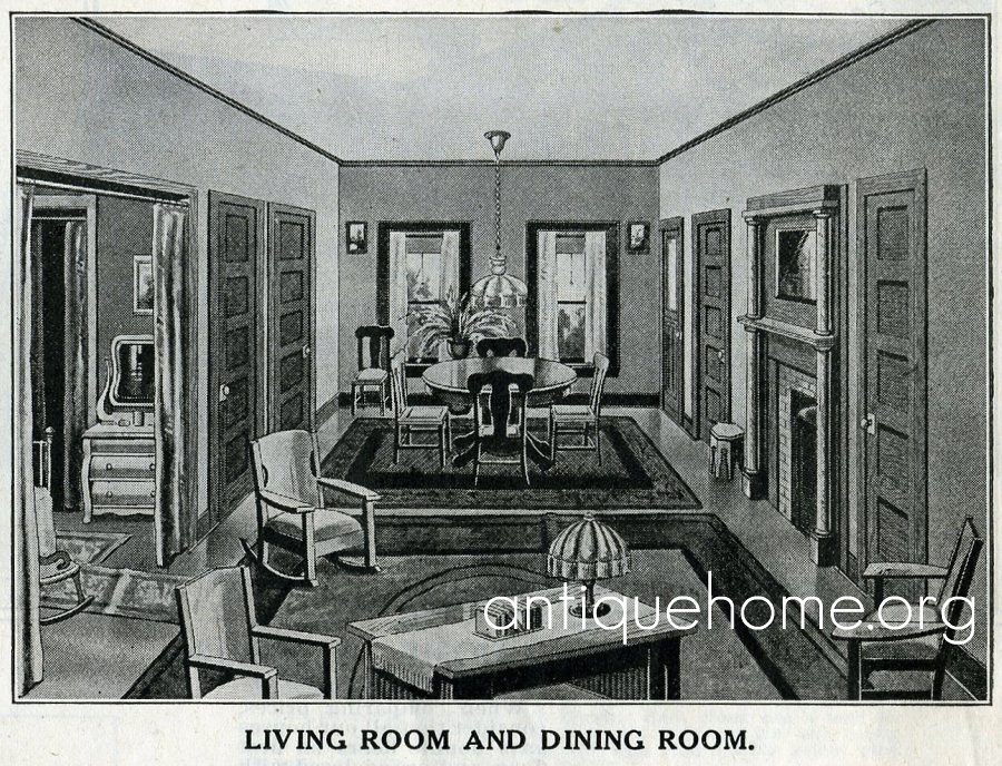 Living room and dining room of a sears catalog house flickr for Dining room c house of commons