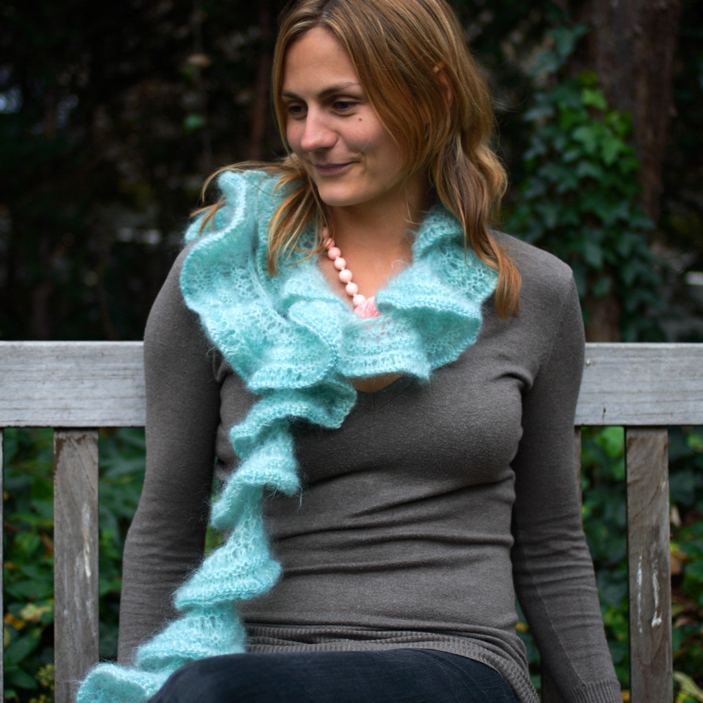 Ruffle Lace Scarf free knitting pattern on Its a Stitch Up