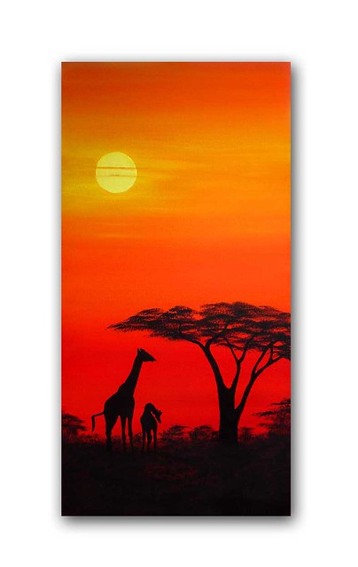 African sunset painting 'Giraffes at dusk' | African ...