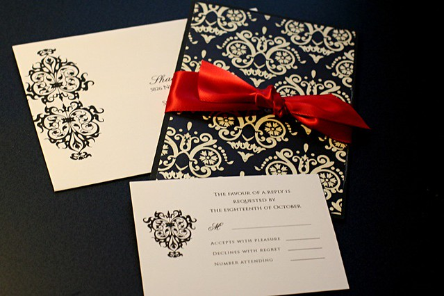 Red Black And White Wedding Invitations: BLACK DAMASK AND RED Wedding Set