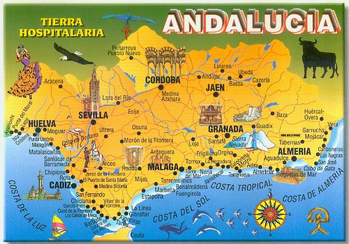 ... map of andalucia spain ...
