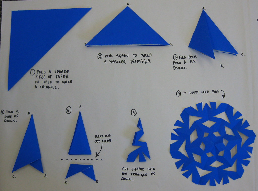 Как сделать снежинки из бумаги пошаговая инструкция