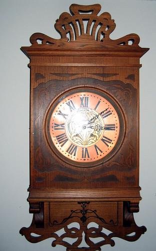 Art Nouveau Oak Wall Clock, copper face | Flickr - Photo ...