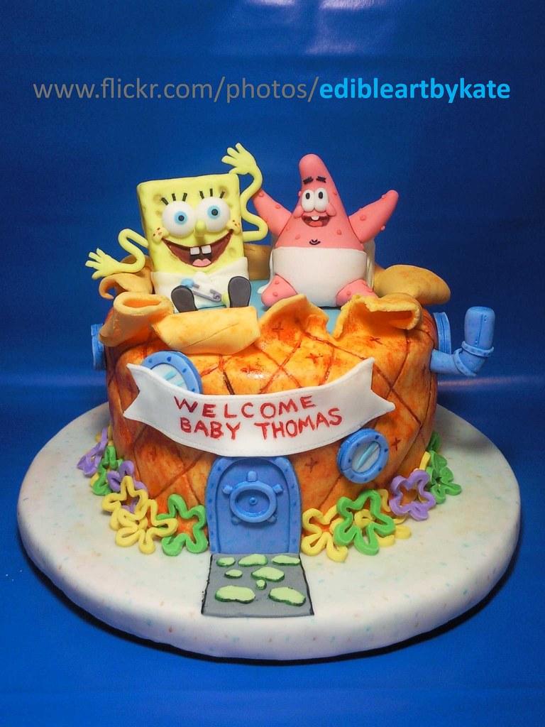 Spongebob Patrick Baby Shower Cake Front View Coffee
