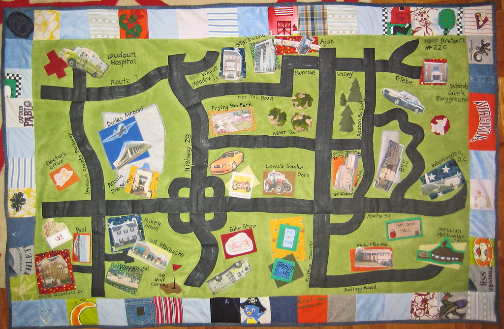kid s map quilt this neighborhood map has several function flickr