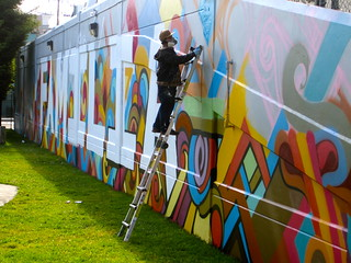 "Reyes working on ""Familia"" Mural at Potrero Del Sol Park 