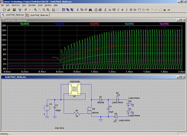 Spice Simulation of 4 LED Driver   SMPS Boost Converter (a k