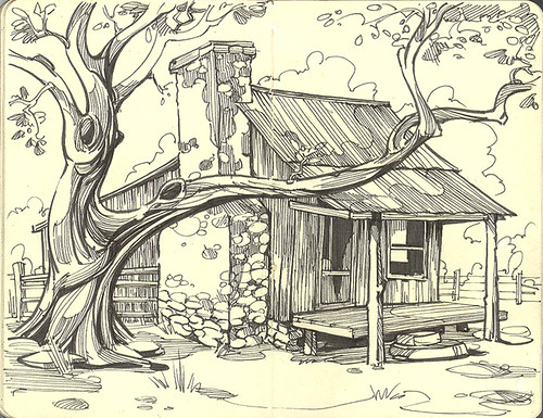 Old ranch house flickr photo sharing for How to draw a farmhouse