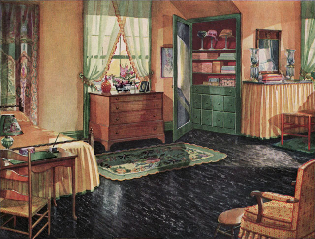 1930 bedroom armstrong linoleum published in the for American country style interior design