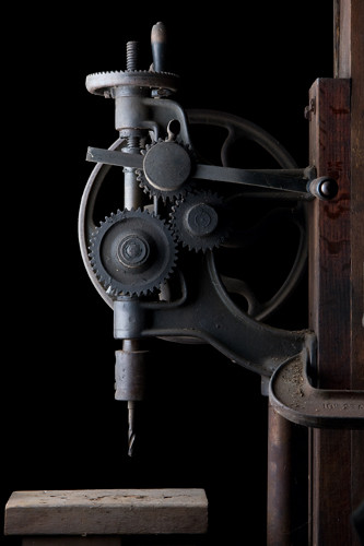 Antique Drill Press Mounted In A 19th Century Blacksmith