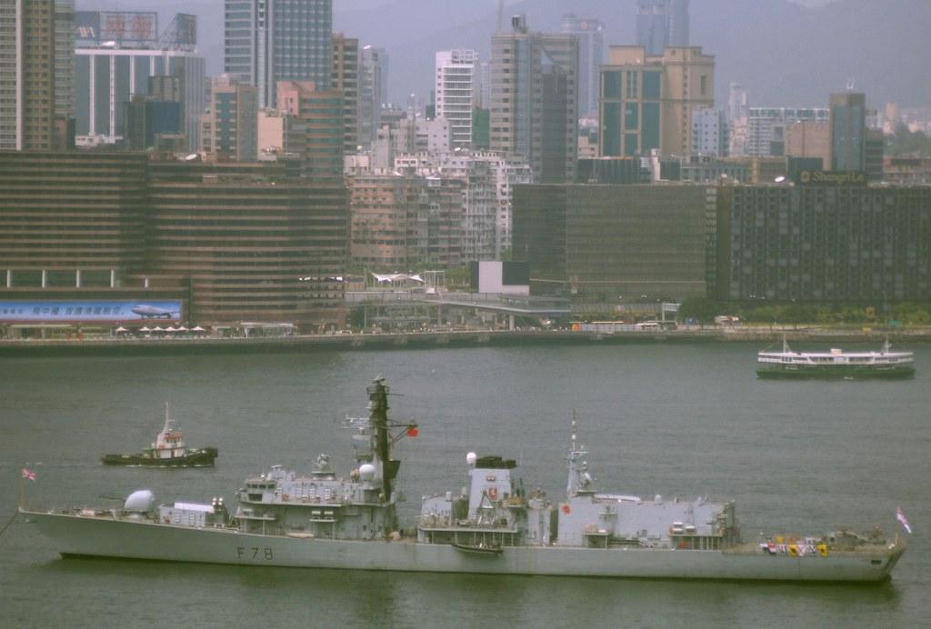 British Royal Navy Warship Hms Kent In Hong Kong British