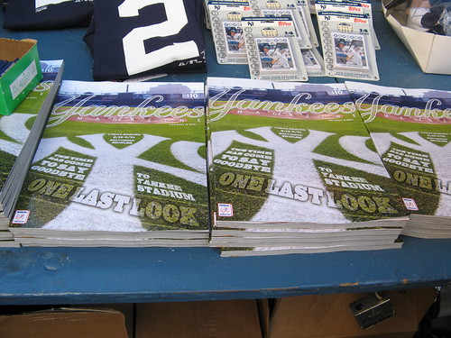 """Final Series"" programs for sale outside Yankee Stadium, 9/20/08 