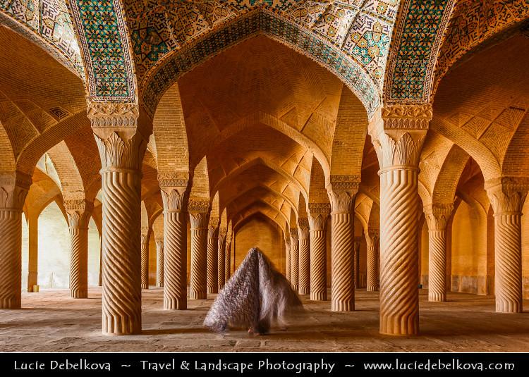 Iran Shiraz Mysterious Woman Inside Of Vakil Mosque
